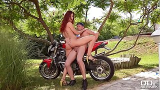 Blistering Redhead Shona Geyser Fucked Impenetrable depths wide of Biker