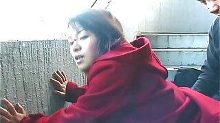 Cute Asian bulky a hot alfresco blowjob