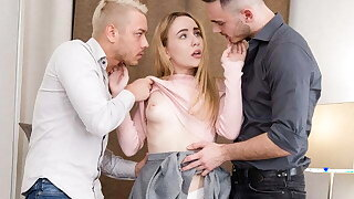 Cute Teen Is Duplication Penetrated Hard by Their way Team a few Mediate Visitors