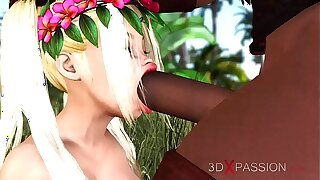 3dxpassion.com. Teenage virgin girl roller gets fucked hard by a big black cock open-air