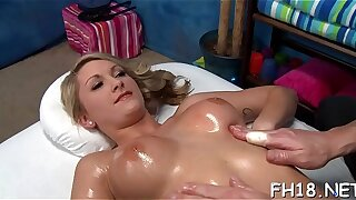 Sexy 18 year venerable ecumenical gets fucked hard from behind off out of one's mind her massage therapist