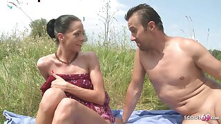 Slim Nudism Teen Seduce to Beach Botheration Copulation by Stranger Voyeur