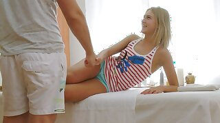 Cute Blonde Russian Teen Fucked To Orgasm Apart from Massage Boy