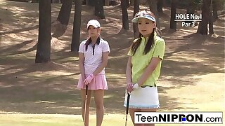 Teen golfer gets her pink pounded atop the green!