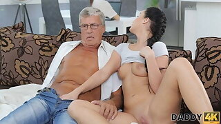 DADDY4K. Grey-haired gentleman up glasses gets lucky