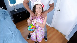 Elfin Teen Fucked By Huge Cock While Easter Go hell for leather Hunting